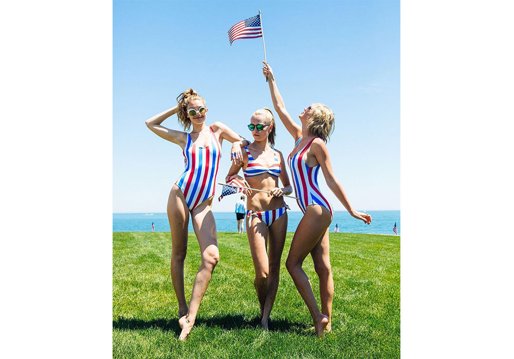 4th of July Taylor Swift Cara Delevingne Gigi Hadid Solid and Striped One Piece