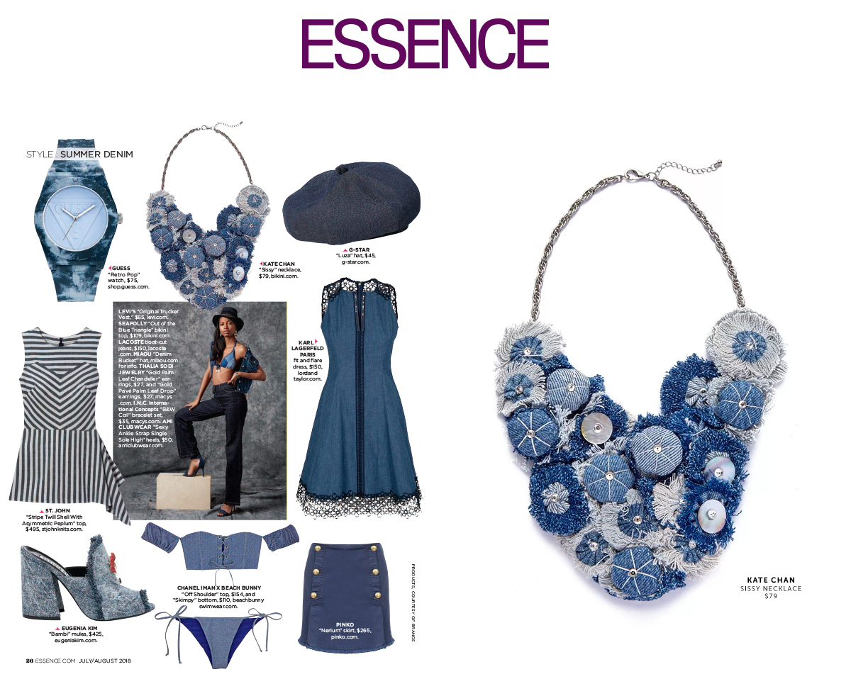 KATE CHAN SISSY NECKLACE and SEAFOLLY OUT OF THE BLUE TOP featured in  Essence Magazine ...