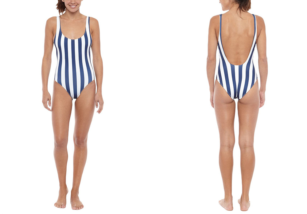 Solid & Striped The Anne Marie One Piece Navy and Cream Stripe