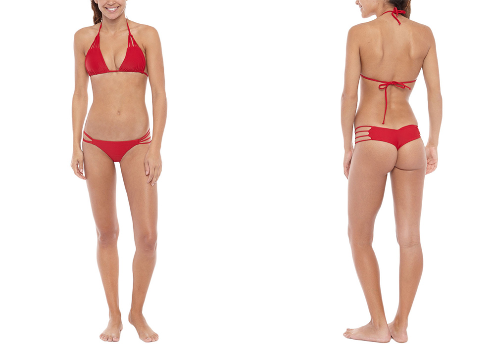 Bettinis Strappy Triangle Top and Red Heart Bottom
