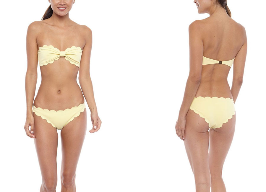 Spring Pastels Suki Waterhouse 50s Antibies Top Bottom Bikini Swimsuit One Piece Yellow