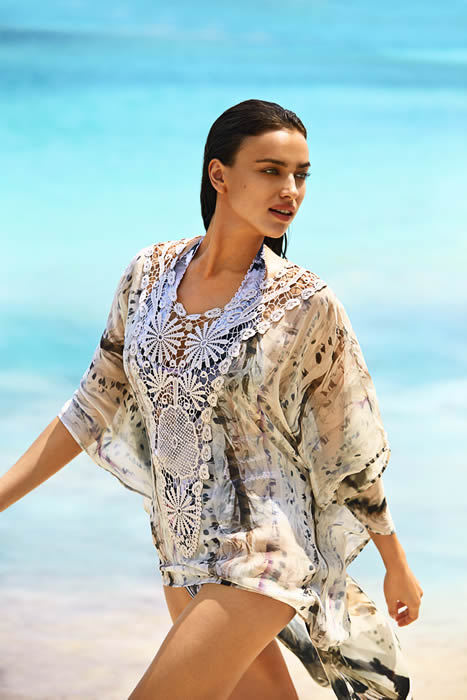 fc16b4e27275 Agua Bendita goddess Irina Shayk looks flawless in her Bendito Depredador  tunic (coming in 2015). Make-up artist Carolina Gonzalez and hair stylist  Frankie ...