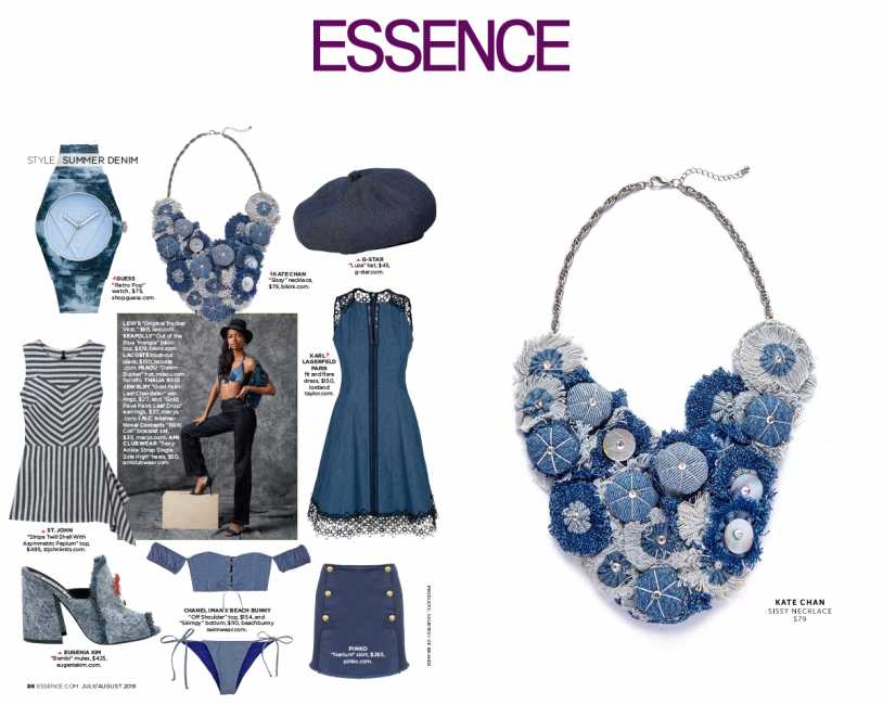 KATE CHAN SISSY NECKLACE and SEAFOLLY OUT OF THE BLUE TOP featured in Essence Magazine
