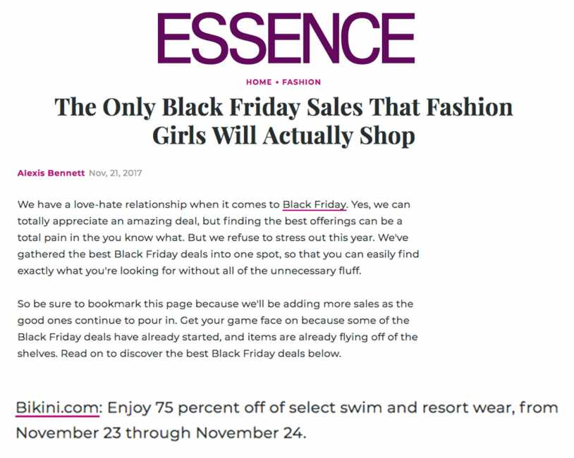 Bikini.com Black Friday Sale featured on Essence