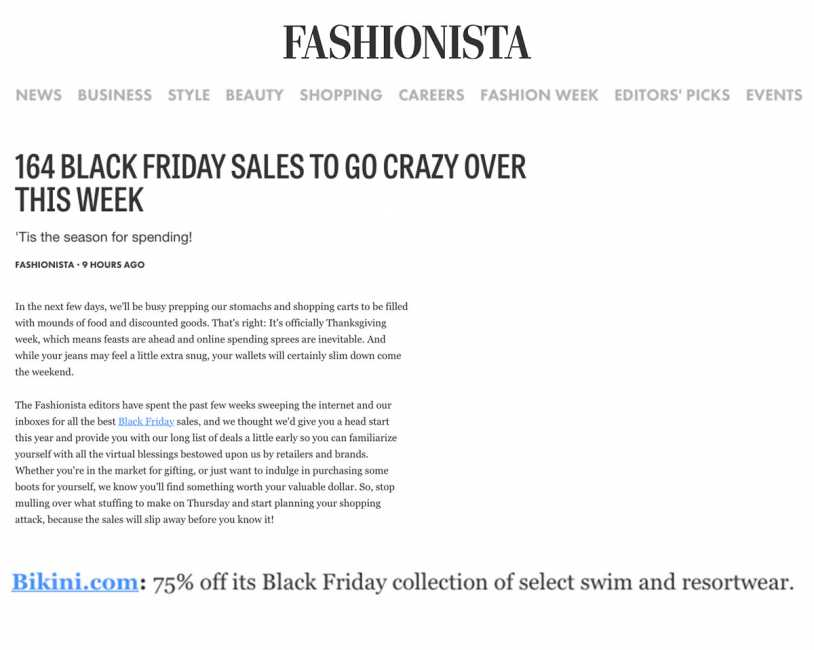 Bikini.com Black Friday Sale featured on Fashionista