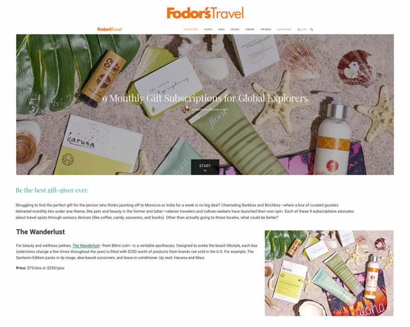 The Wanderlust Subscription Box featured on Fodor's Travel for Global Explorers