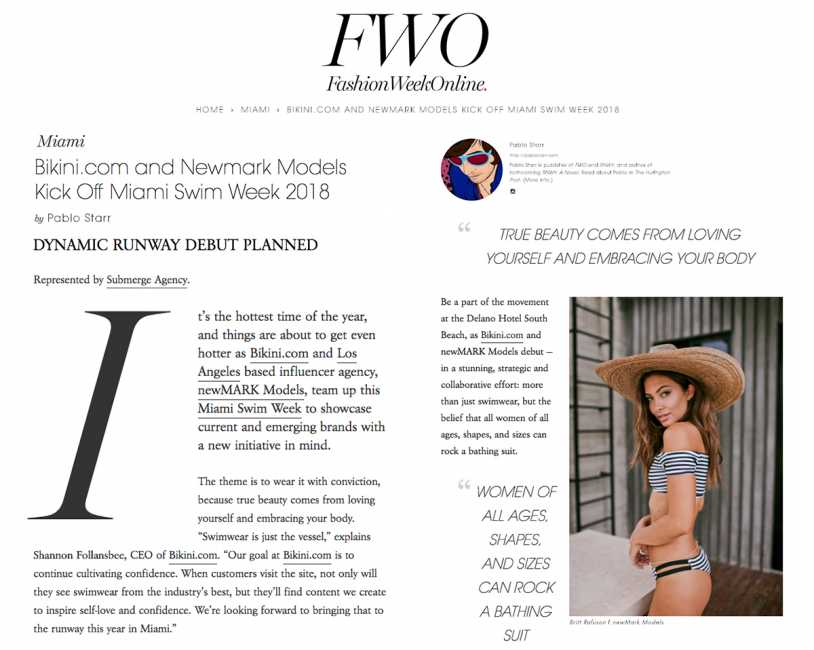 BIkini.com Featured on Fashion Week Online for Miami Fashion Week with Newmark Models