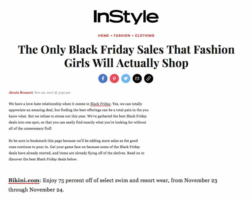 Bikini.com Black Friday Sale featured on InStyle