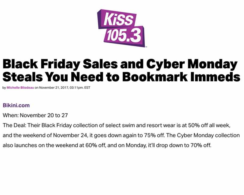 Bikini.com Black Friday Sale featured on KISS 105.3