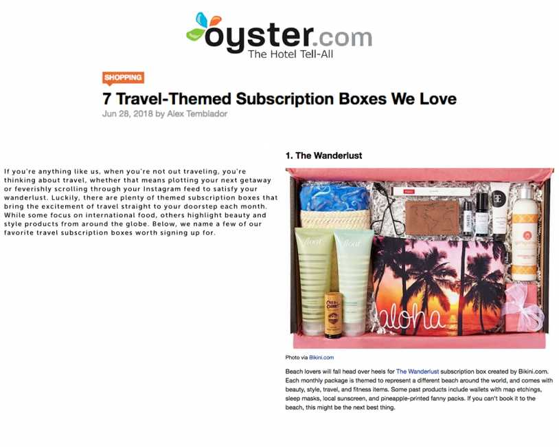 Wanderlust Subscription Box Featured on Oyster The Hotel Tell-All