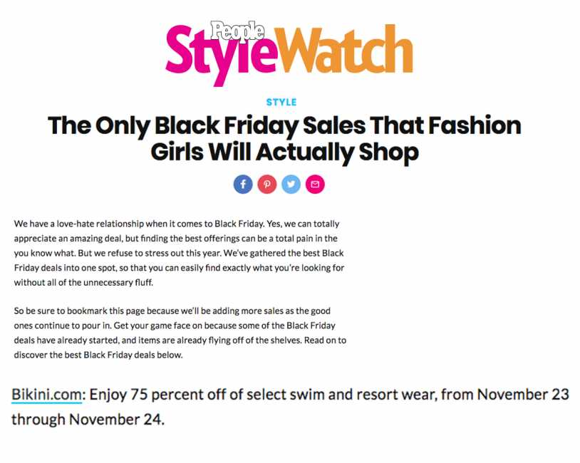Bikini.com Black Friday Sale featured on People Style Watch