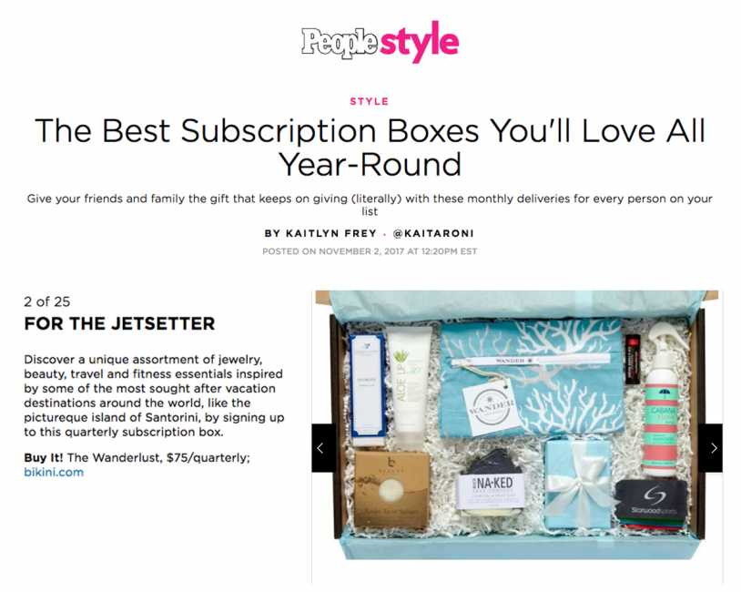 The Wanderlust Subscription Box featured on People Style Watch - The Best Subscription Boxes You'll Love All Year-Round