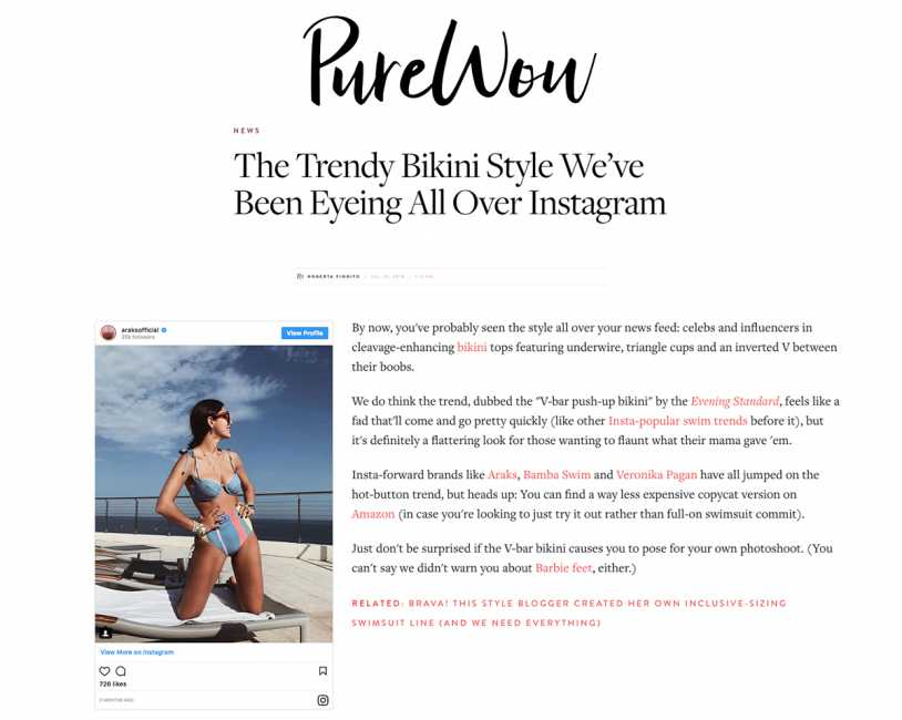 VERONIKA PAGAN FANG BIKINI TOP featured on PureWow - The Trendy Bikini Style We've Been Eyeing All Over Instagram