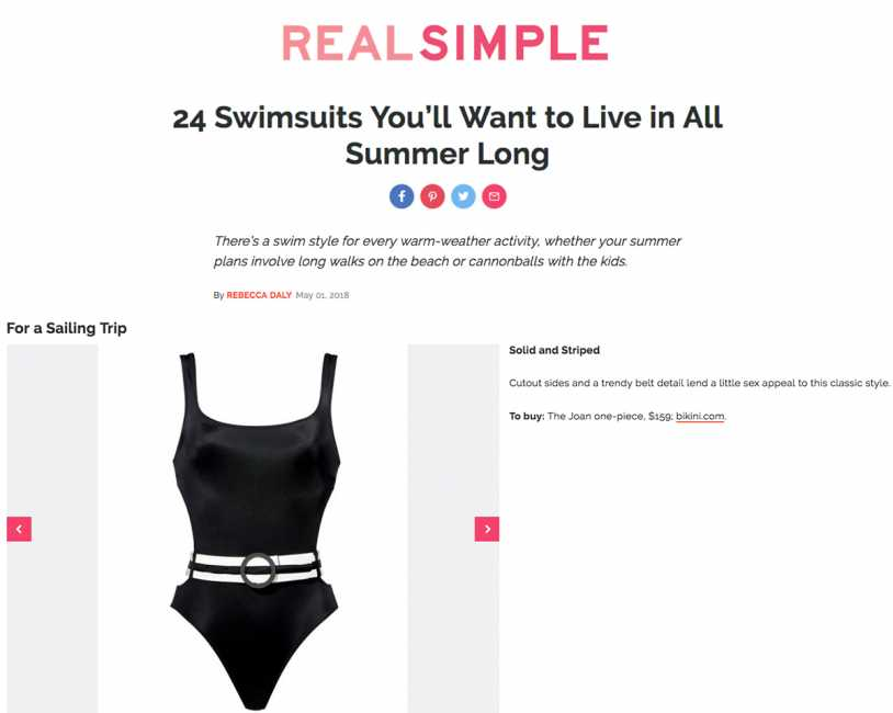 SEEA KARINA ONE PIECE & SOLID & STRIPED THE JOAN ONE PIECE featured on REAL SIMPLE