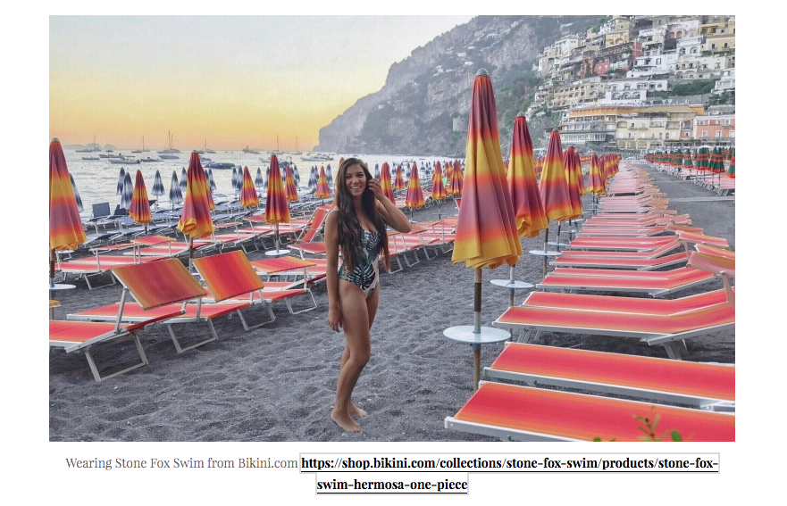 STONE FOX SWIM HERMOSA ONE PIECE featured on Breanne Burnell THE AMALFI COAST – ITALIAN PARADISE