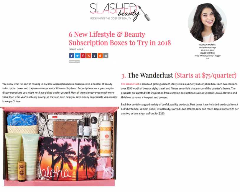Maui Wanderlust Subscription Box Featured on Slashed Beauty