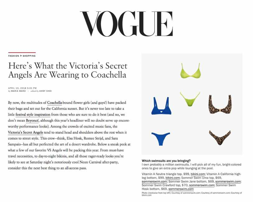 VITAMIN A NEUTRA TRIANGLE TOP & CALIFORNIA HIGH-LEG BOTTOM Featured on VOUGE