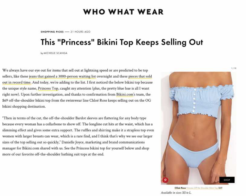 CHLOE ROSE PRINCESS OFF SHOULDER BIKINI TOP featured on WHO WHAT WHERE
