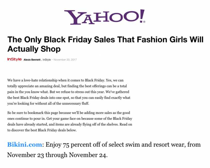 Bikini.com Black Friday Sale featured on Yahoo!